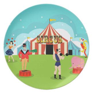 Placa de la melamina del circo del vintage plato de comida