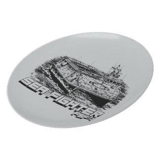 Placa de la melamina del combatiente del mar platos