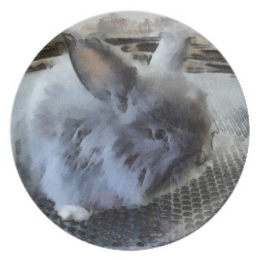 Placa de la melamina del conejo plato de cena