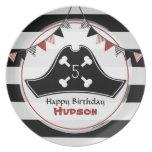 Placa de la melamina del cumpleaños del pirata platos para fiestas