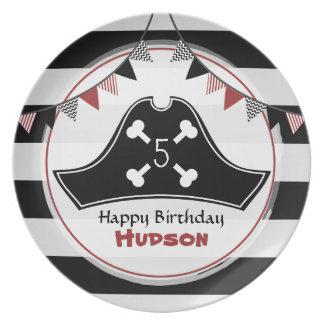 Placa de la melamina del cumpleaños del pirata plato de cena