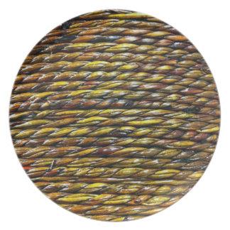 Placa de la melamina del diseño de la cuerda plato para fiesta