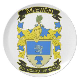 Placa de la melamina del escudo de McEwen Platos De Comidas