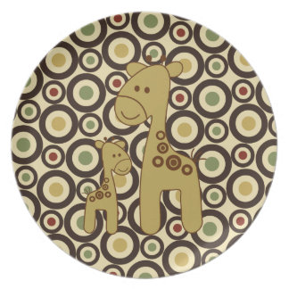 Placa de la melamina del estampado de girafa plato de comida