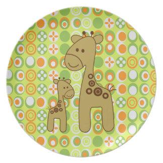 Placa de la melamina del estampado de girafa plato de cena