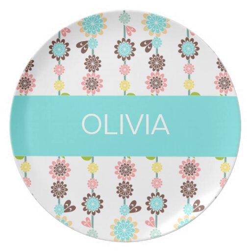 Placa de la melamina del flor platos para fiestas