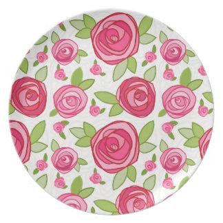 Placa de la melamina del modelo de los rosas de la platos