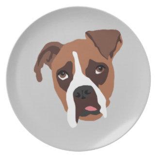 Placa de la melamina del perro del boxeador plato de comida
