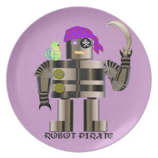 Placa de la melamina del pirata del robot plato para fiesta
