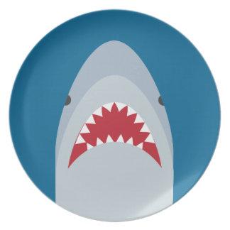 Placa de la melamina del tiburón plato de comida