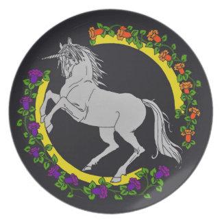 Placa de la melamina del unicornio platos de comidas