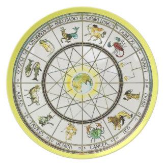 Placa de la melamina del zodiaco platos