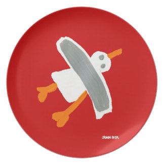 Placa de la melamina: Rojo de la gaviota el Plato