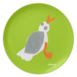 Placa de la melamina: Verde de la gaviota el Platos Para Fiestas