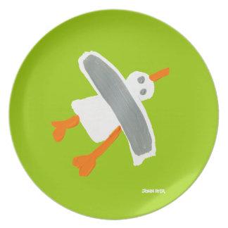 Placa de la melamina: Verde de la gaviota el Plato De Cena
