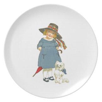 Placa de la niña del vintage plato de cena