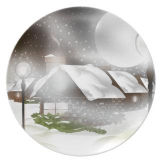 Placa de la noche de navidad Nevado Platos De Comidas