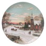 Placa de la Nochebuena del vintage Platos Para Fiestas