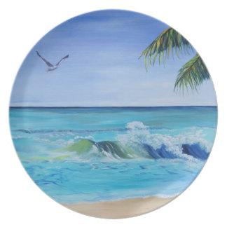 Placa de la ola oceánica plato de cena