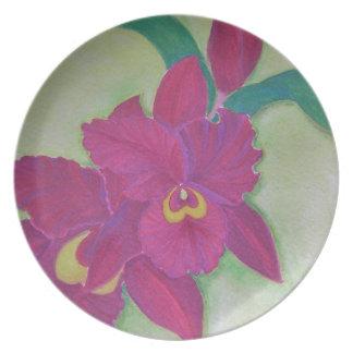 Placa de la orquídea de Madge Cattleya Plato De Cena