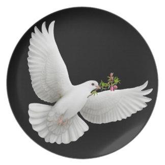 Placa de la paloma de la paz del vuelo platos para fiestas