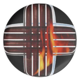 placa de la parrilla del fuego plato de comida