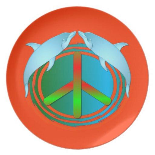 Placa de la paz del delfín platos de comidas