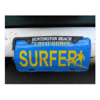 Placa de la persona que practica surf de Californi Postales