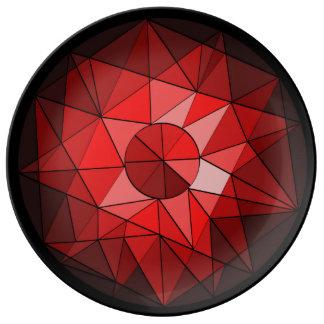 Placa de la piedra preciosa del diseño geométrico plato de cerámica