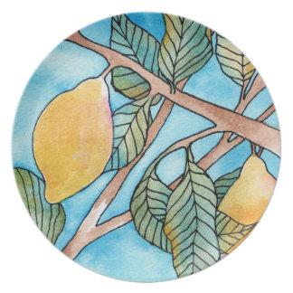 Placa de la pintura del limón plato