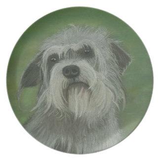 Placa de la pintura del perro de Dandie Dinmont Te Plato De Comida