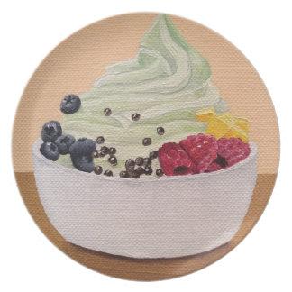 Placa de la pintura del yogurt congelado platos de comidas