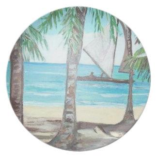 Placa de la playa de Luquillo Plato Para Fiesta