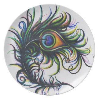 Placa de la pluma del pavo real plato de cena