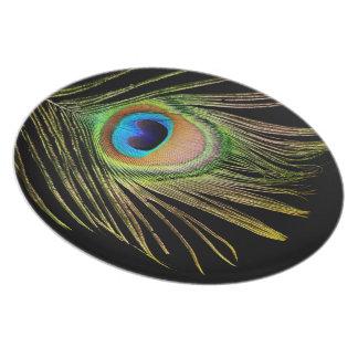 Placa de la pluma del pavo real platos para fiestas