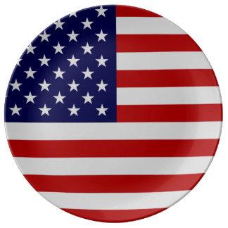 Placa de la porcelana de la bandera americana plato de cerámica