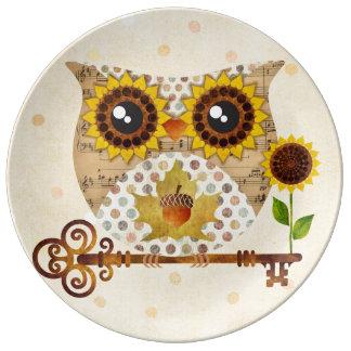 Placa de la porcelana de la canción del otoño del  plato de cerámica