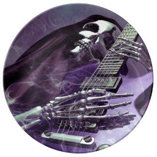 Placa de la porcelana de la guitarra del parca platos de cerámica