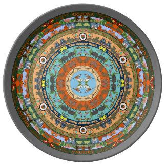 Placa de la porcelana de la mandala del estado de plato de cerámica