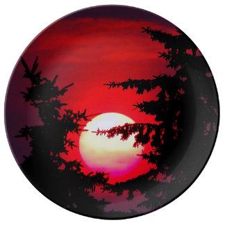 Placa de la porcelana de la puesta del sol de la plato de cerámica