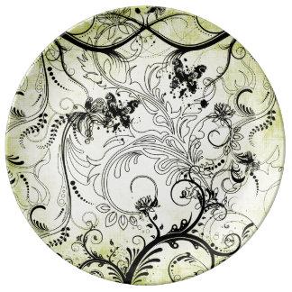 Placa de la porcelana de las vides de la hoja de S Platos De Cerámica