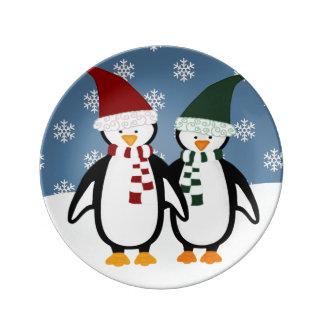 Placa de la porcelana de los pingüinos del navidad plato de cerámica
