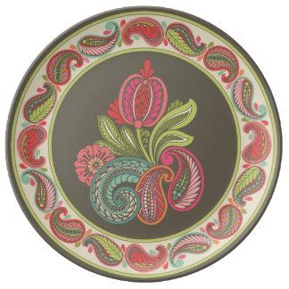 Placa de la porcelana de Paisley Cyngalese Platos De Cerámica