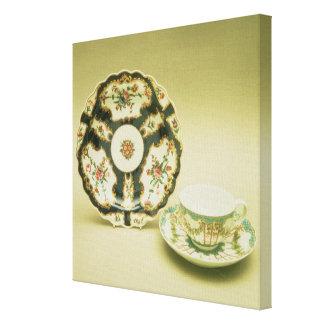 Placa de la porcelana de Worcester con la decoraci Lona Estirada Galerias