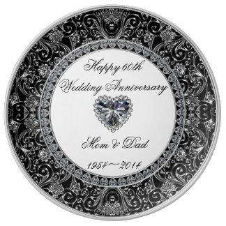 Placa de la porcelana del aniversario de boda de d platos de cerámica