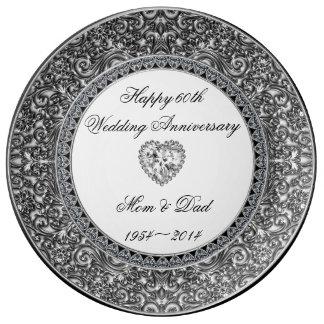 Placa de la porcelana del aniversario de boda de d plato de cerámica