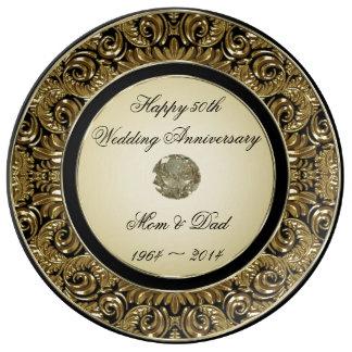 Placa de la porcelana del aniversario de boda de o plato de cerámica