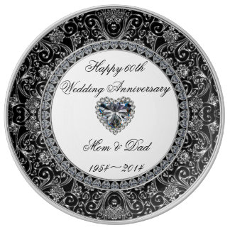 Placa de la porcelana del aniversario de boda de platos de cerámica