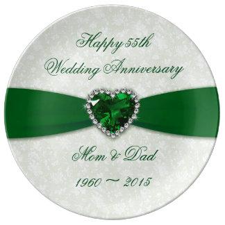 Placa de la porcelana del aniversario de boda del platos de cerámica