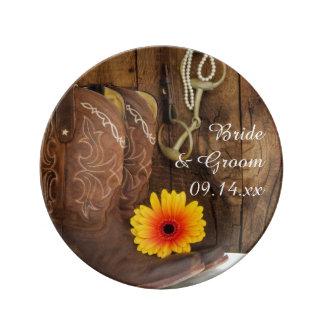 Placa de la porcelana del boda del pedazo de las platos de cerámica